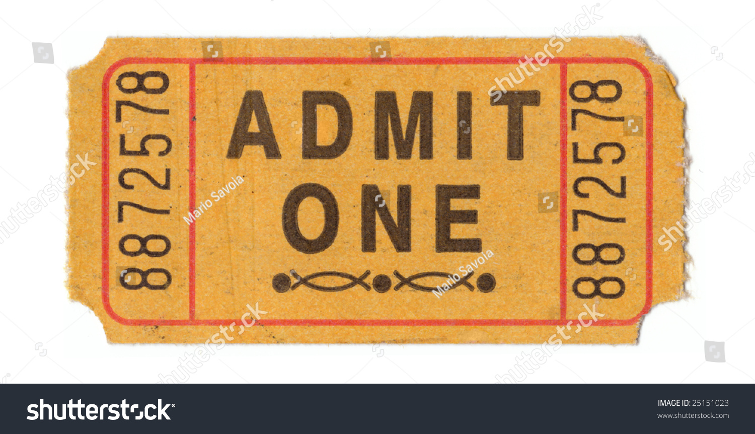 Generic Vintage Admit One Ticket Close Stock Photo 25151023 ...