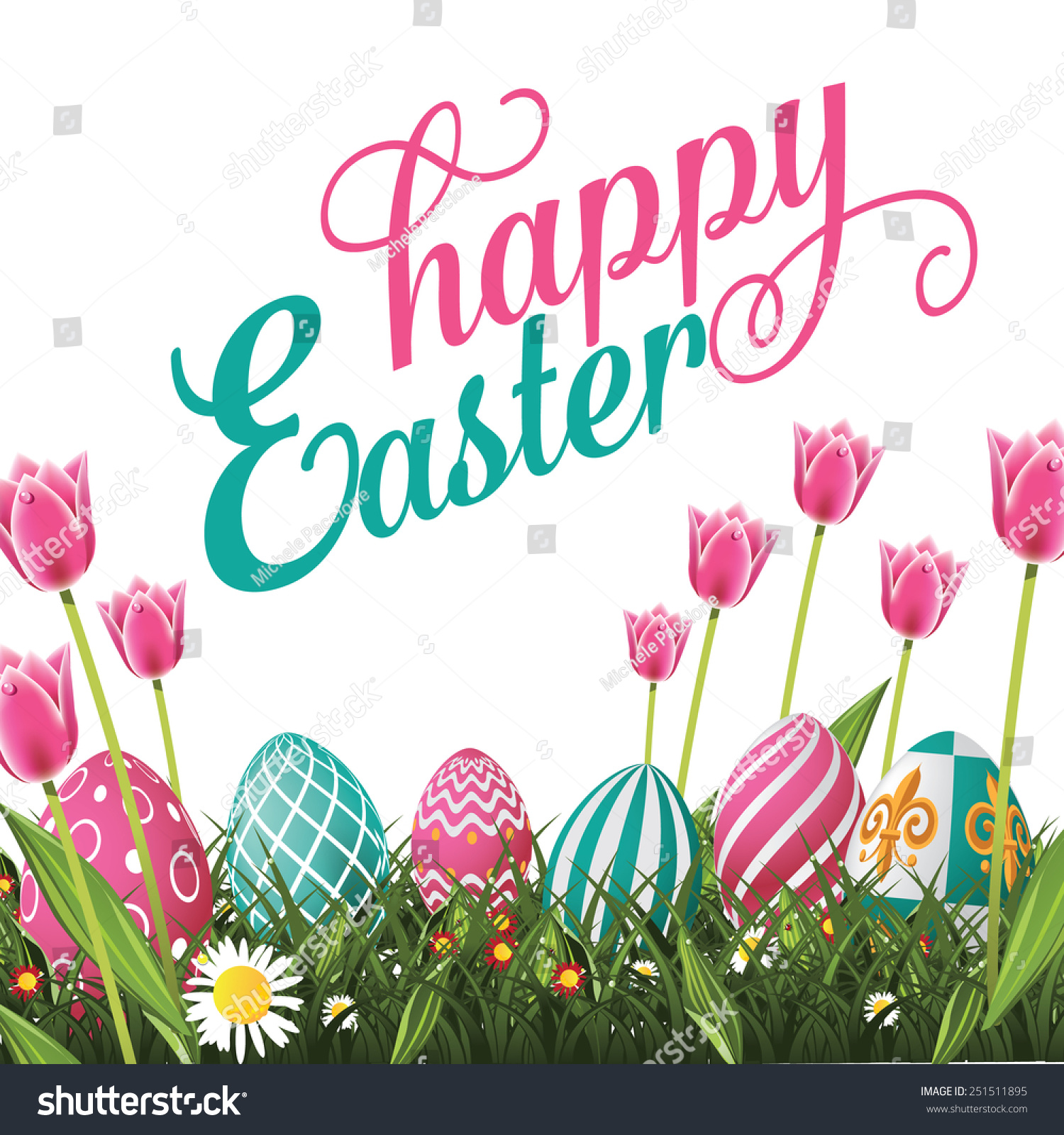 happy easter isolated white background eps stock vector 251511895