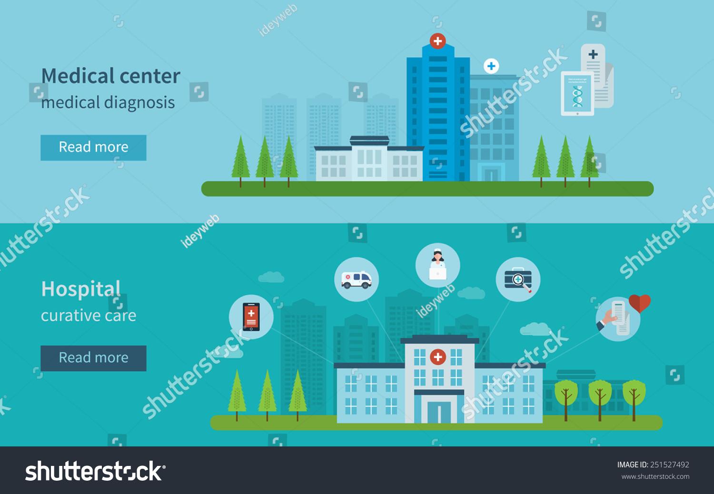 Flat design modern vector illustration concept for healthcare, medical ... Medical Laboratory Logo Design