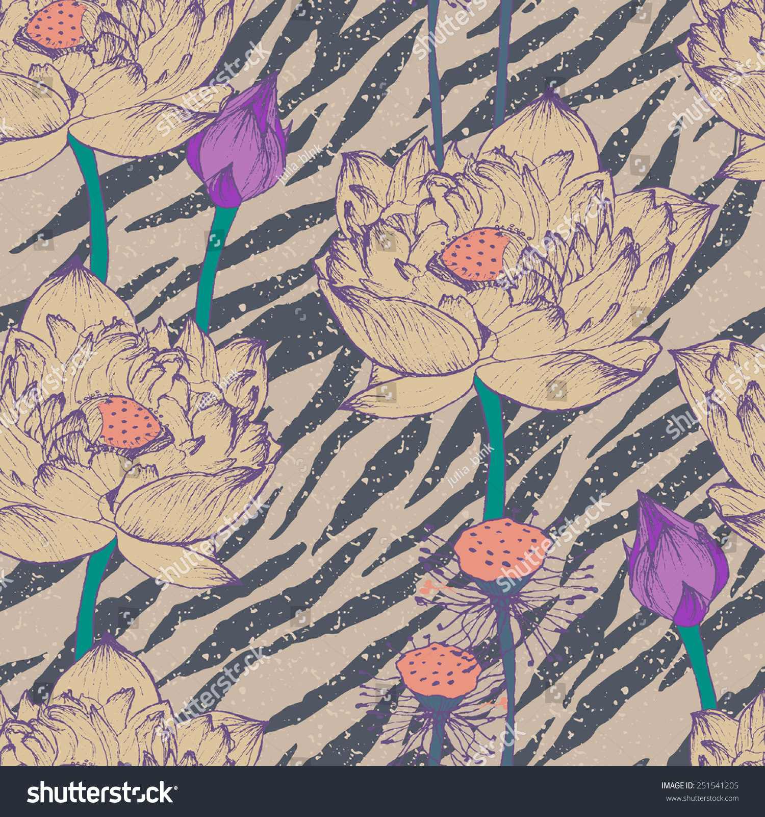 Seamless Floral Pattern Hipster Patternvector Retro Stock Vector