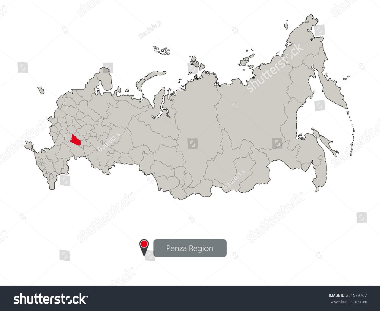 Map Russia Penza Region Stock Vector 251579767 Shutterstock