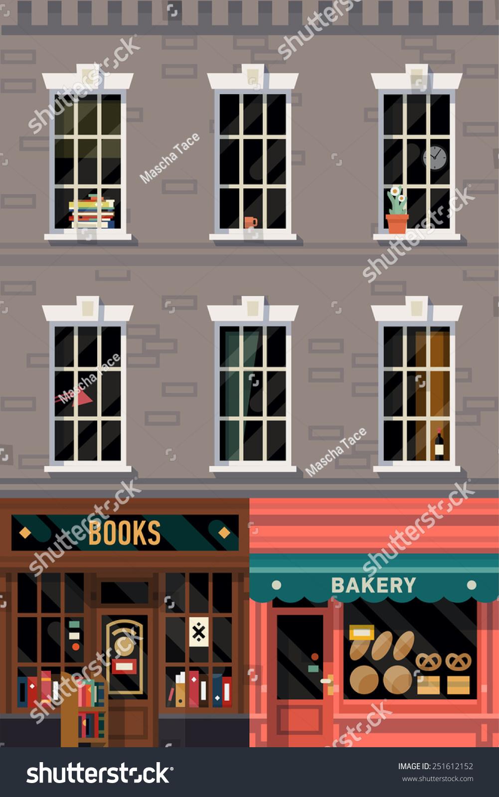 Vector Retro Printable Poster Design Background On Downtown Grey Brick Building Structure Facade