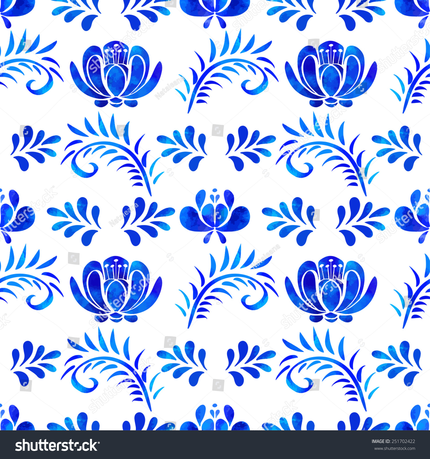 Artistic floral element abstract gzhel folk art blue flowers stock - Seamless Pattern With Watercolor Blue Flowers Leafs On White Background Repeating Background Texture In