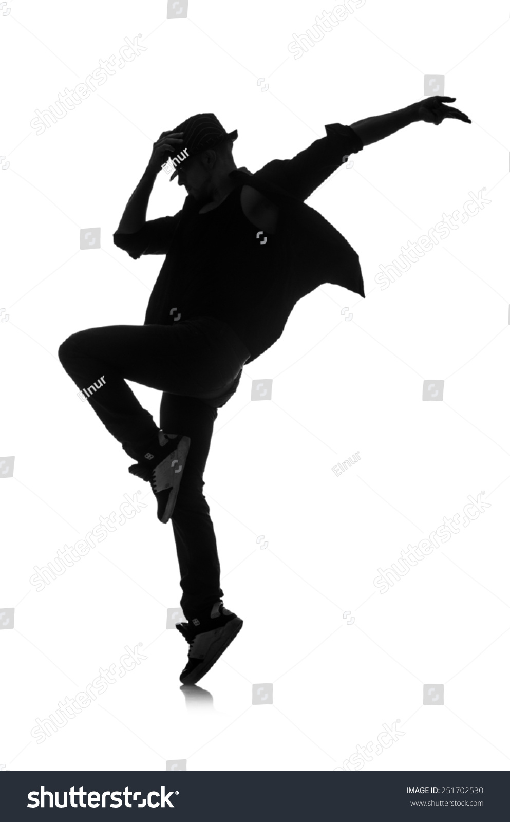 Silhouette Male Dancer Isolated On White Stock Photo ...
