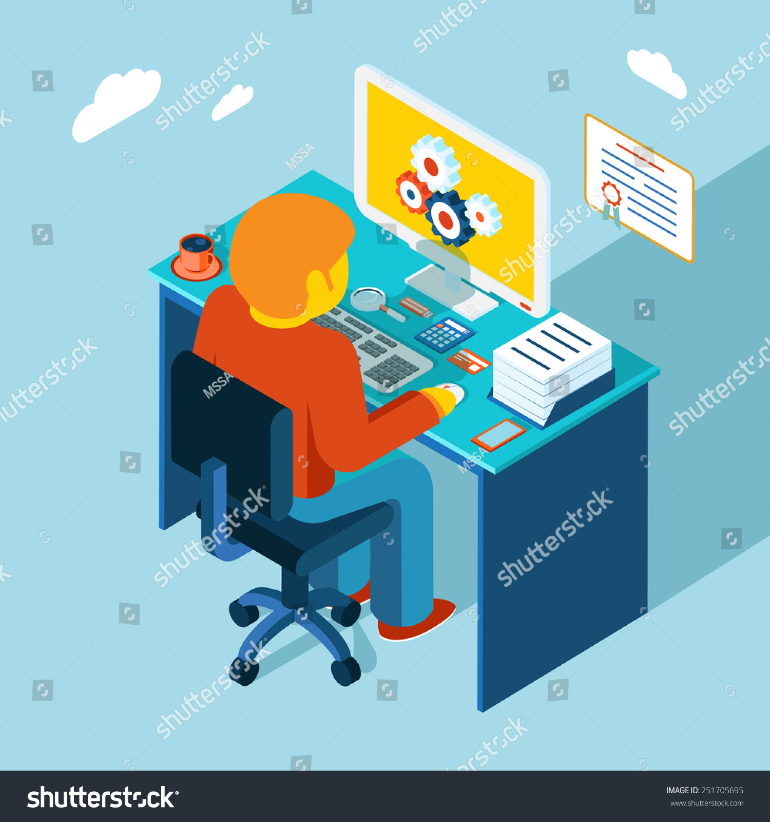 Flat 3d Isometric Design Man Sits Stock Vector 251705695 ...