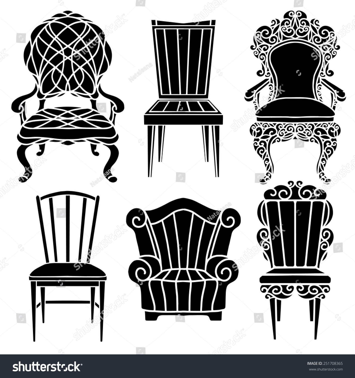 Antique chair silhouette - Vintage Furniture Set Chair Armchair Throne Black Silhouettes Isolated On A White Background