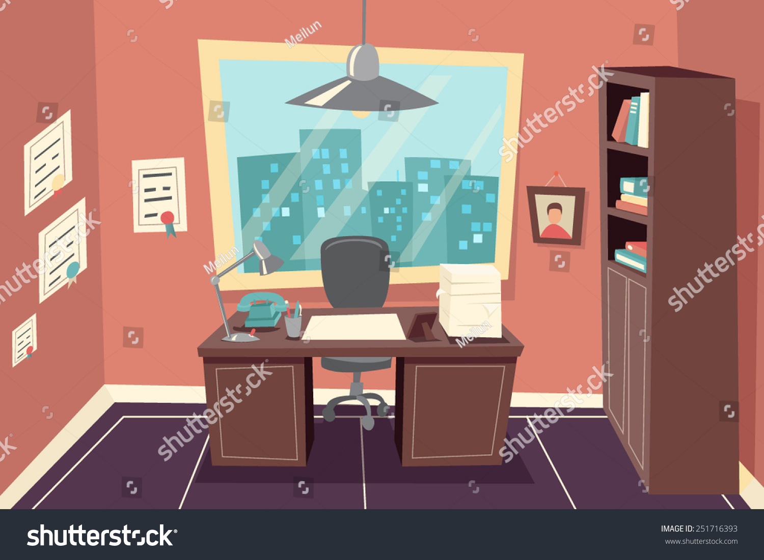 Stylish business working office room background stock for Office design vector