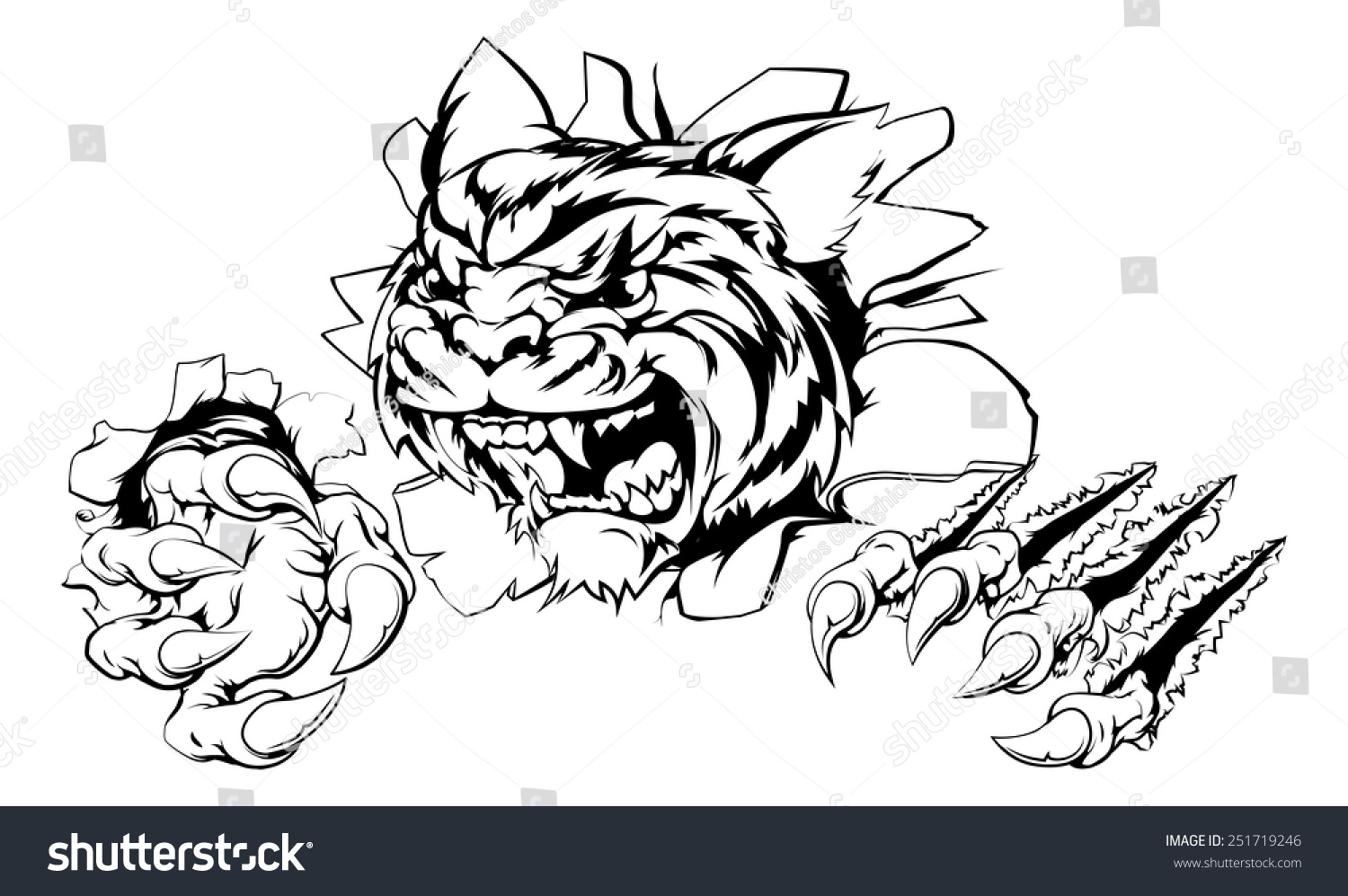 attacking tiger claws breakthrough drawing tiger stock vector