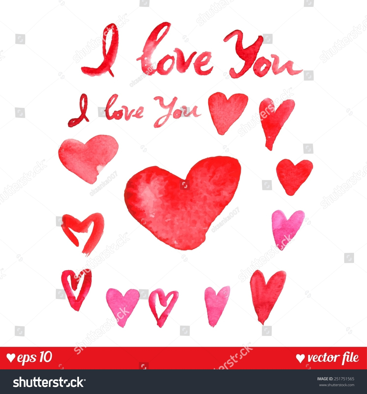 Decorative Hearts Set Love You Text Stock Vector Royalty Free
