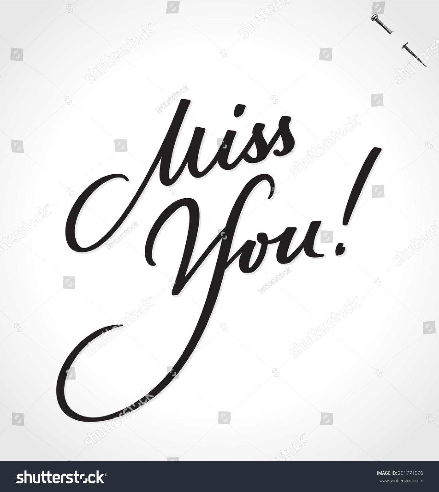 Miss You Original Custom Hand Lettering Stock Vector