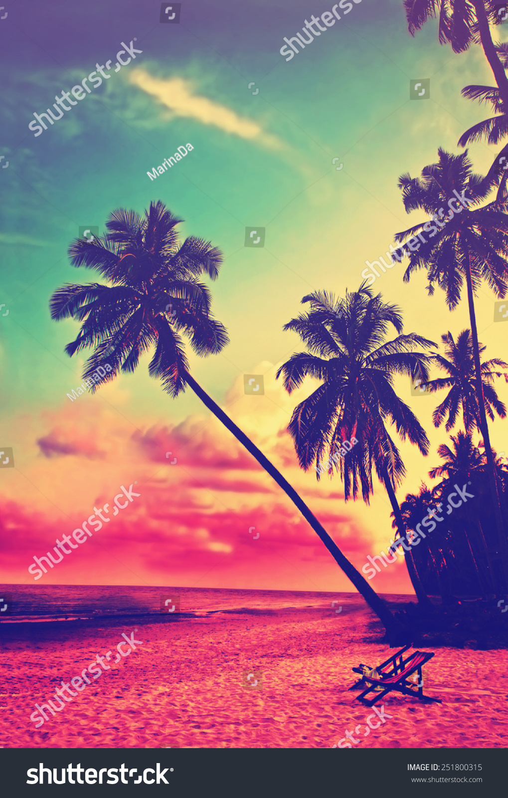 Beautiful Tropical Beach With Silhouettes Of Palm Trees At Sunset Travel Background Retro Vintage