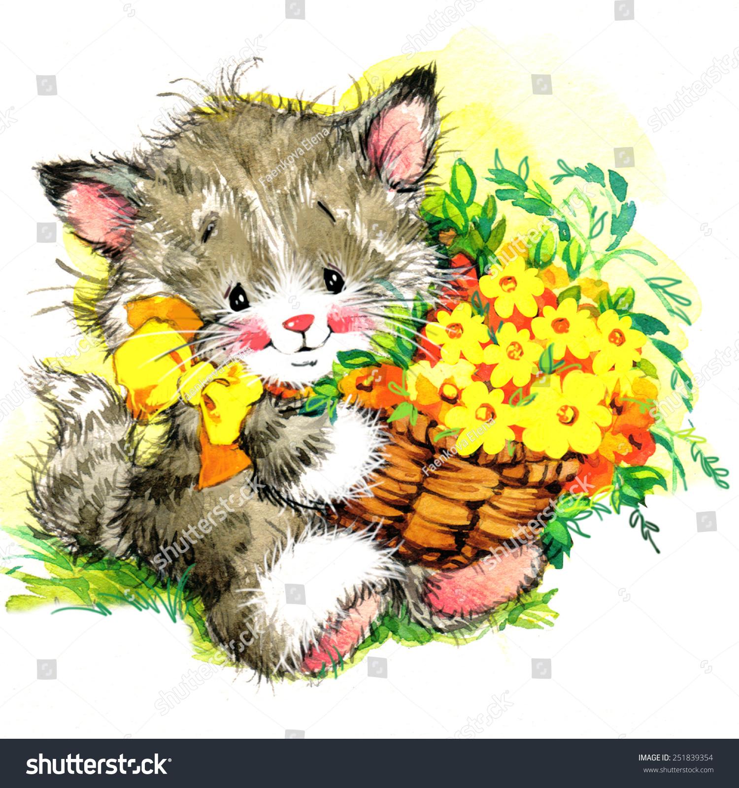 Kitten Flower Background Watercolor Art Stock Illustration 251839354 ...