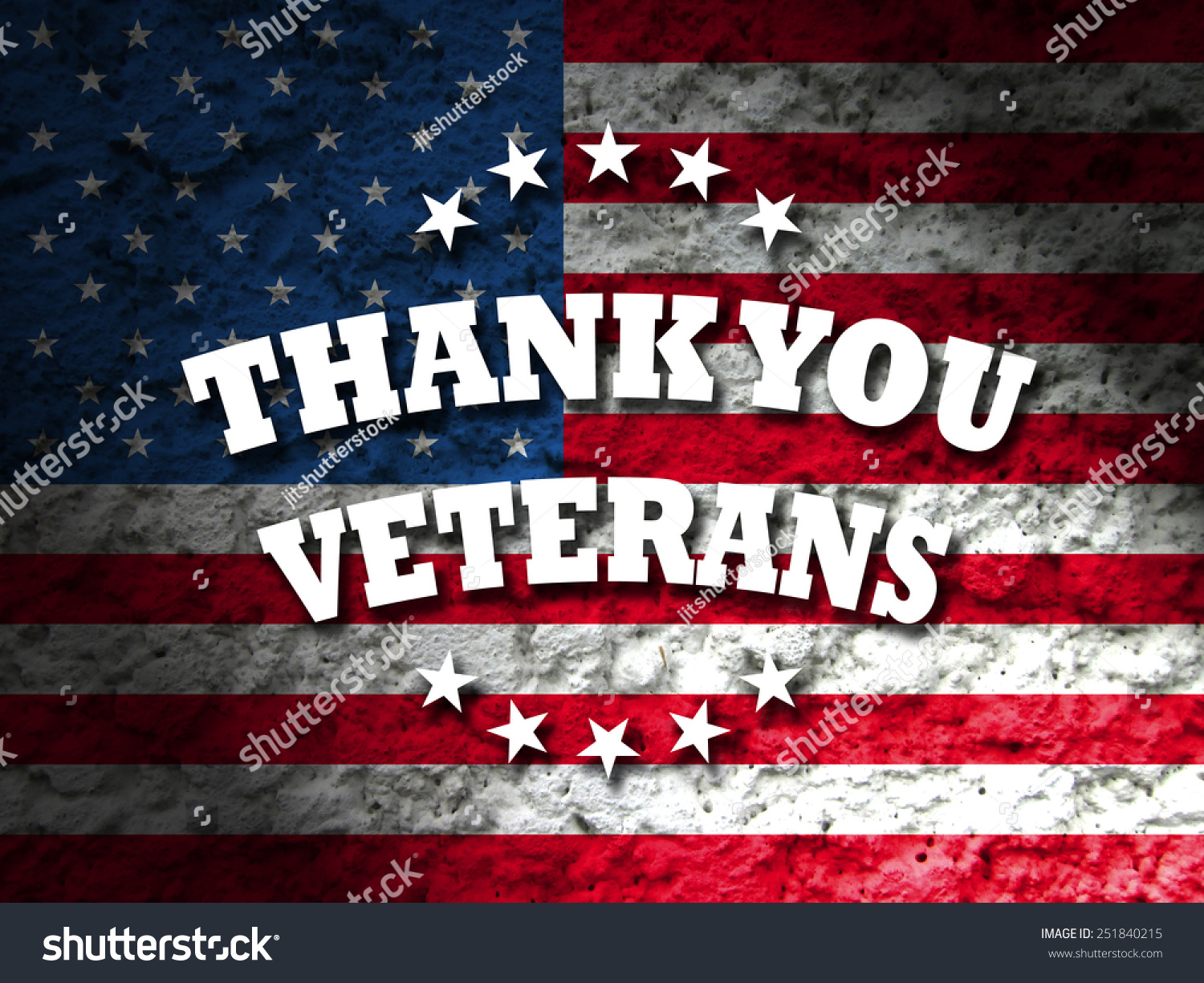 Thank You Veterans Greeting Card American Flag Grunge Background