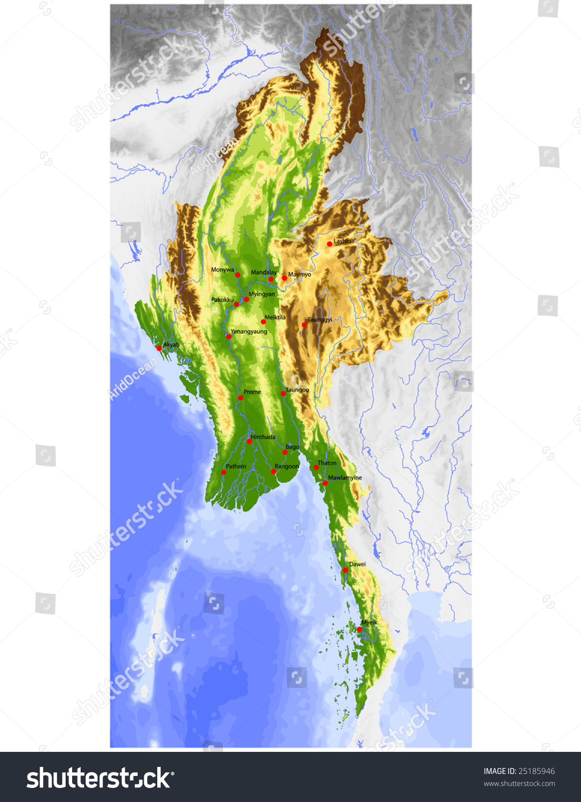 Burma Myanmar Physical Vector Map Colored Stock Vector (Royalty Free ...