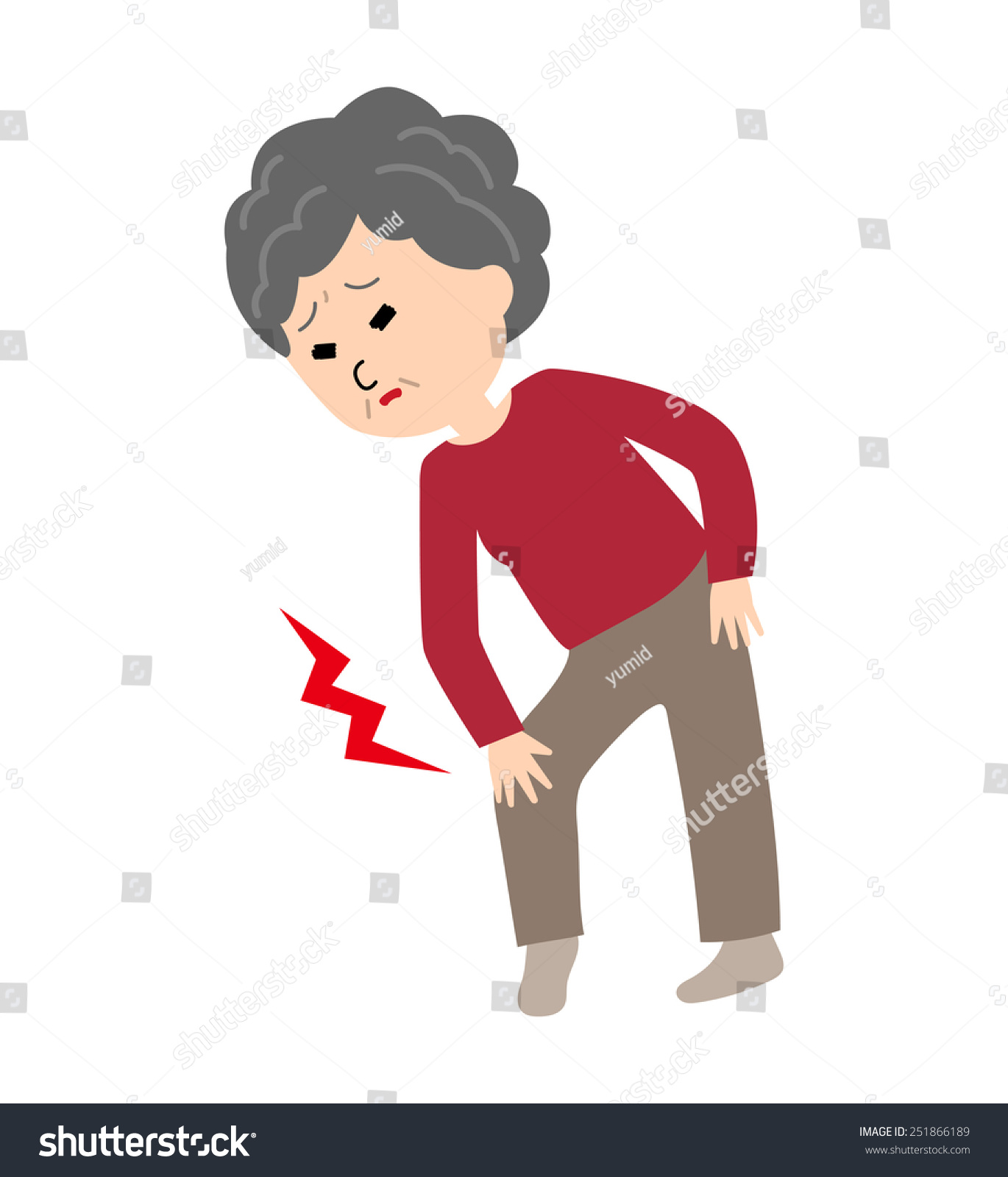 Elderly Woman Suffering Knee Pain Vector Stock Vector