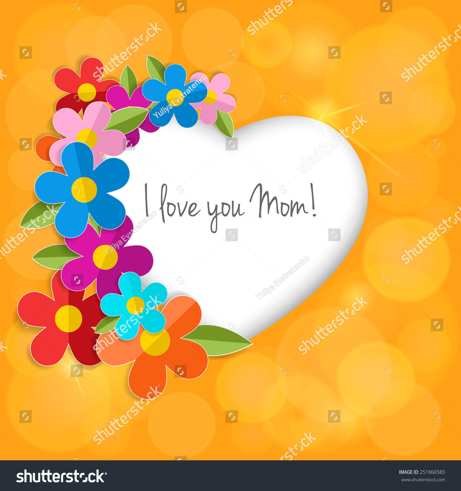 Greeting Card On Happy Mothers Day Stock Vector 251866585 - Shutterstock