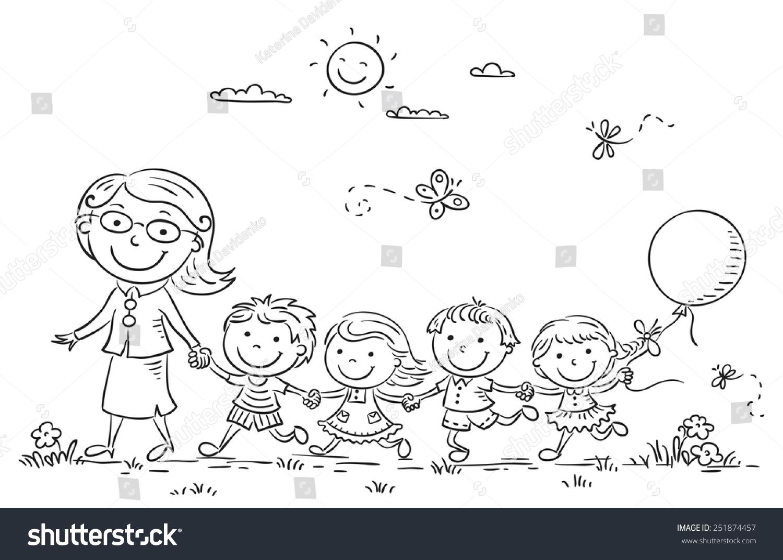 Vector Drawing Lines Kindergarten : Kids their teacher on walk kindergarten stock vector