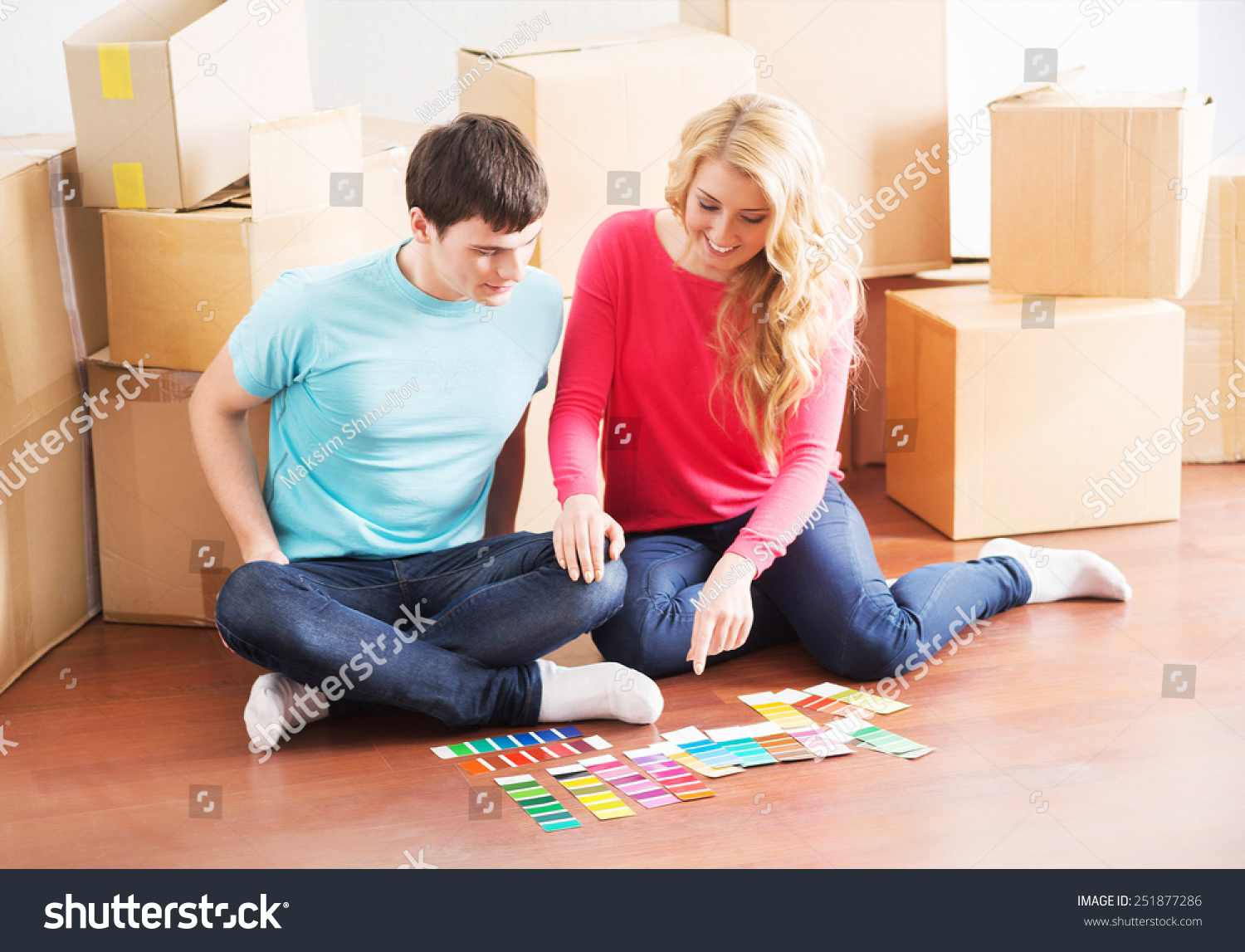 Young couple moving new home wife stock photo 251877286 shutterstock - Young couple modern homes ...