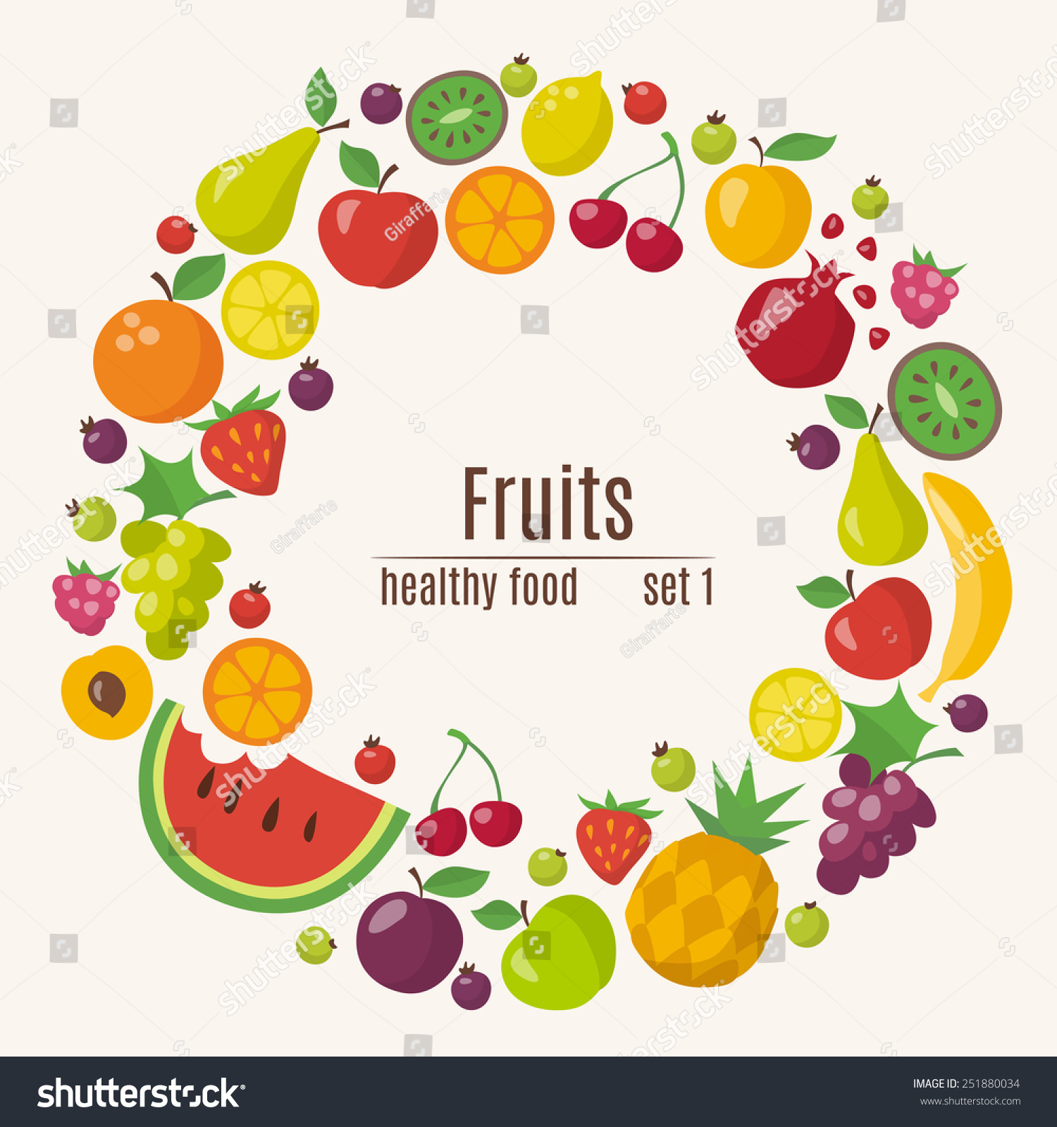 healthy food circle different fruits flat stock vector 251880034