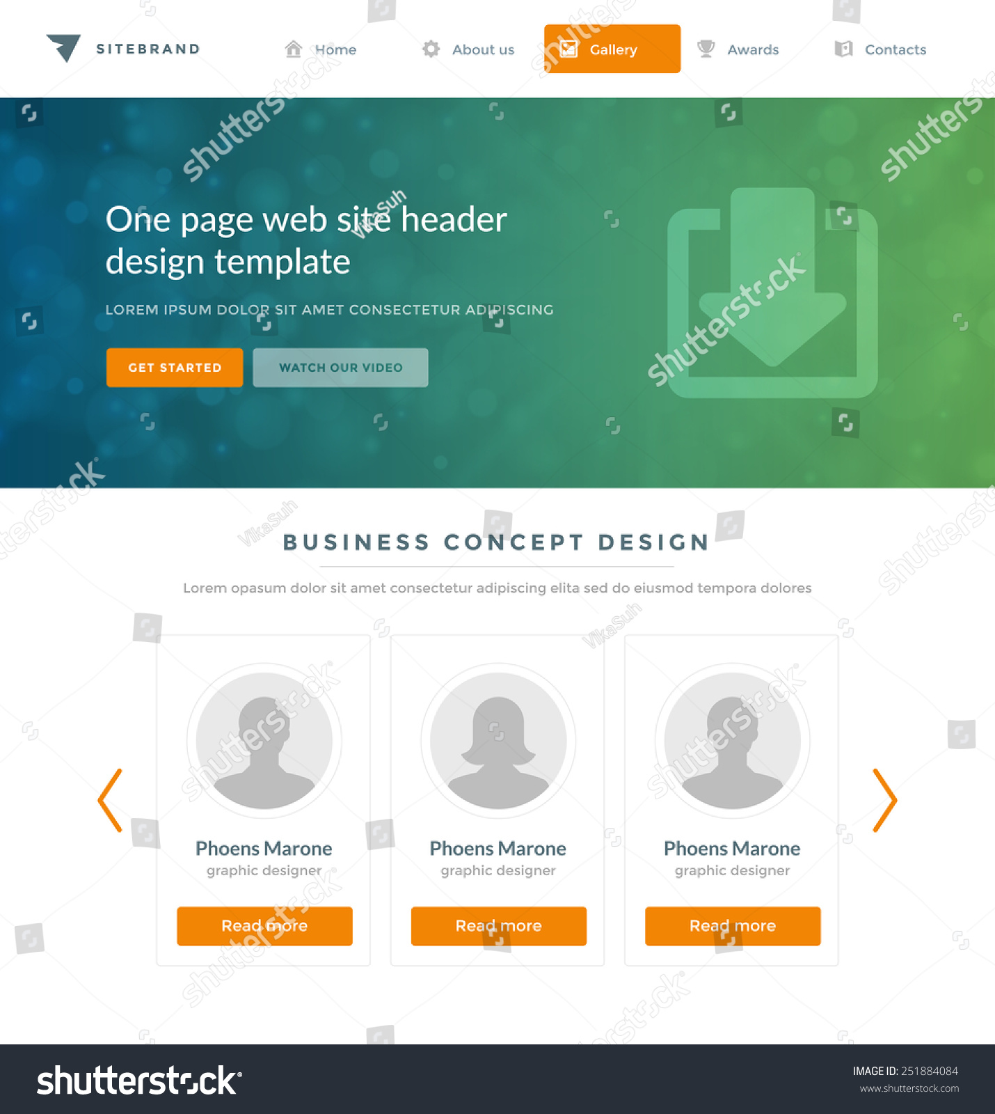 Website Template Landing One Page Header Stock Vector 251884084 ...