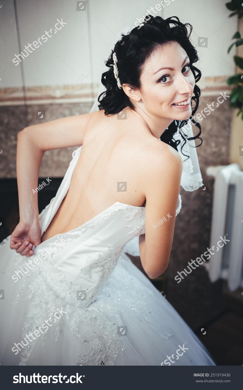 Nude Bride Striptease Beautiful Girl White Stock Photo ...