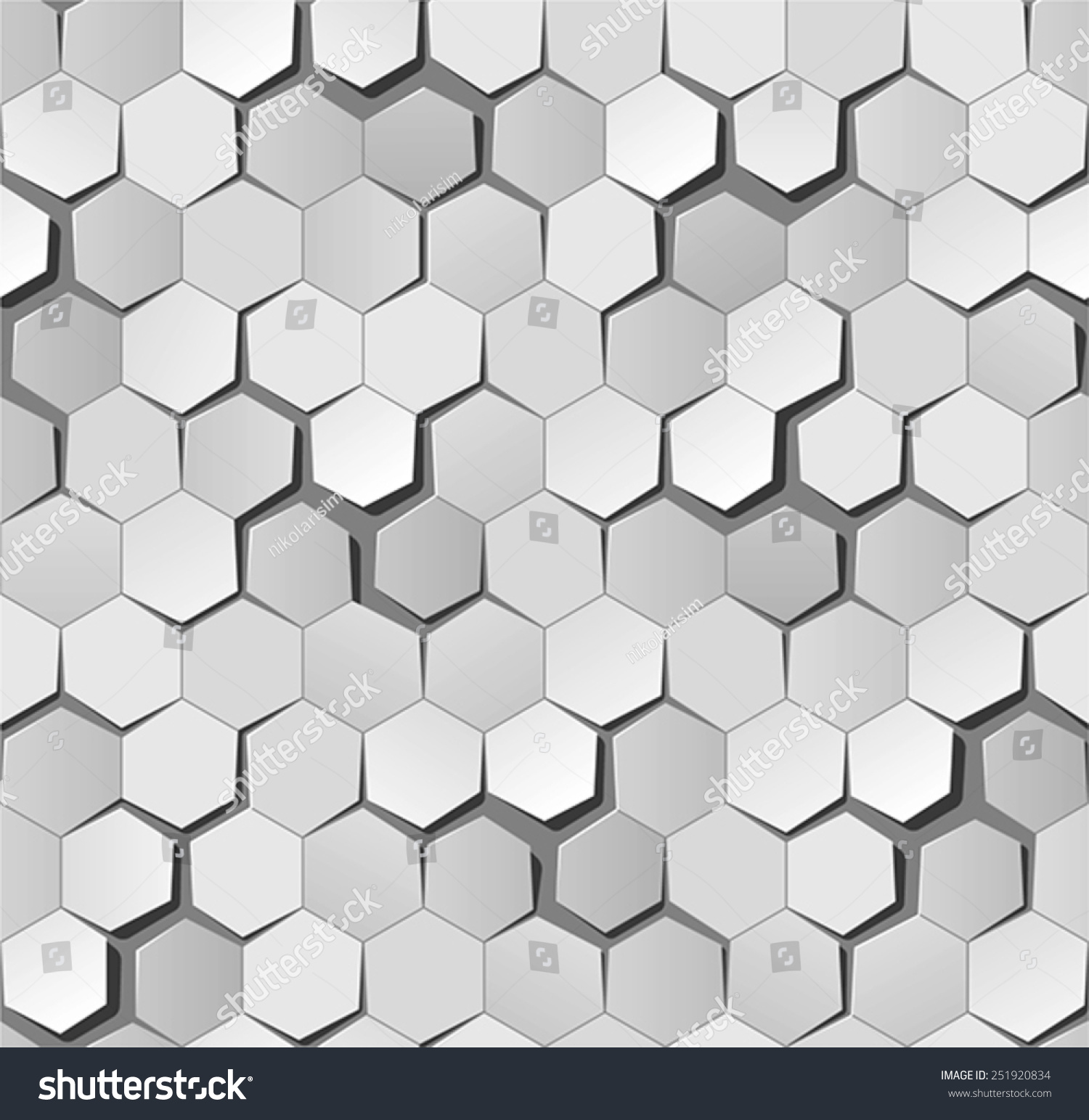 honeycomb origami pattern perfectly repeatable easy stock vector