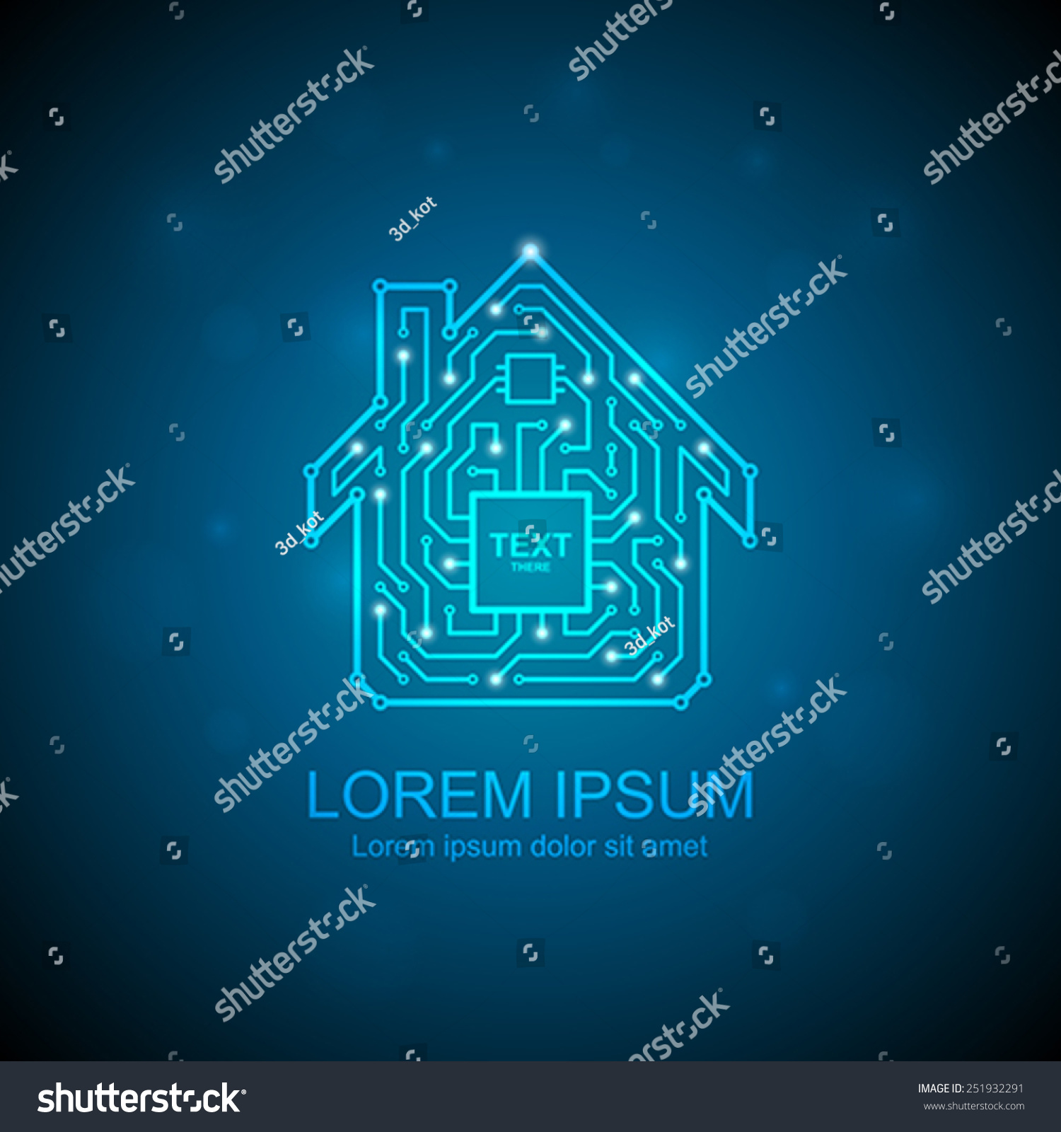 Circuit Board House Icon Home Automation Stock Vector (Royalty Free ...