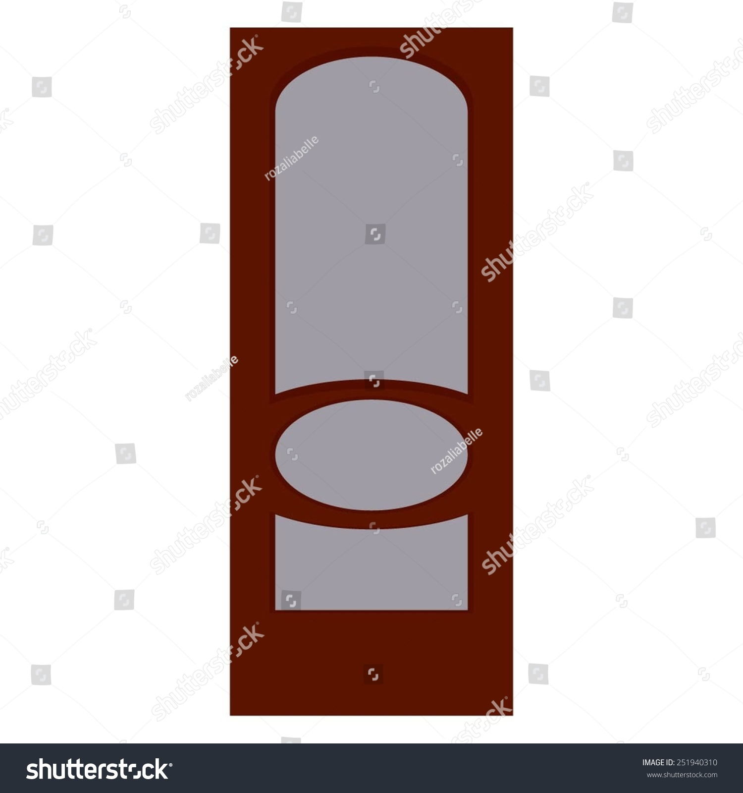 Vector Illustration Of Brown Interior Doors With Frosted Glass.