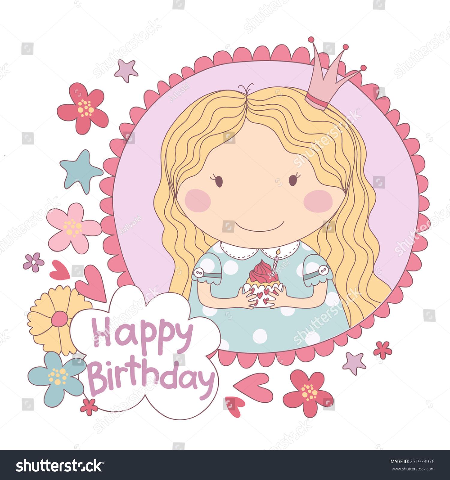 Cute Girl Birthday Cake Stock Vector Royalty Free 251973976
