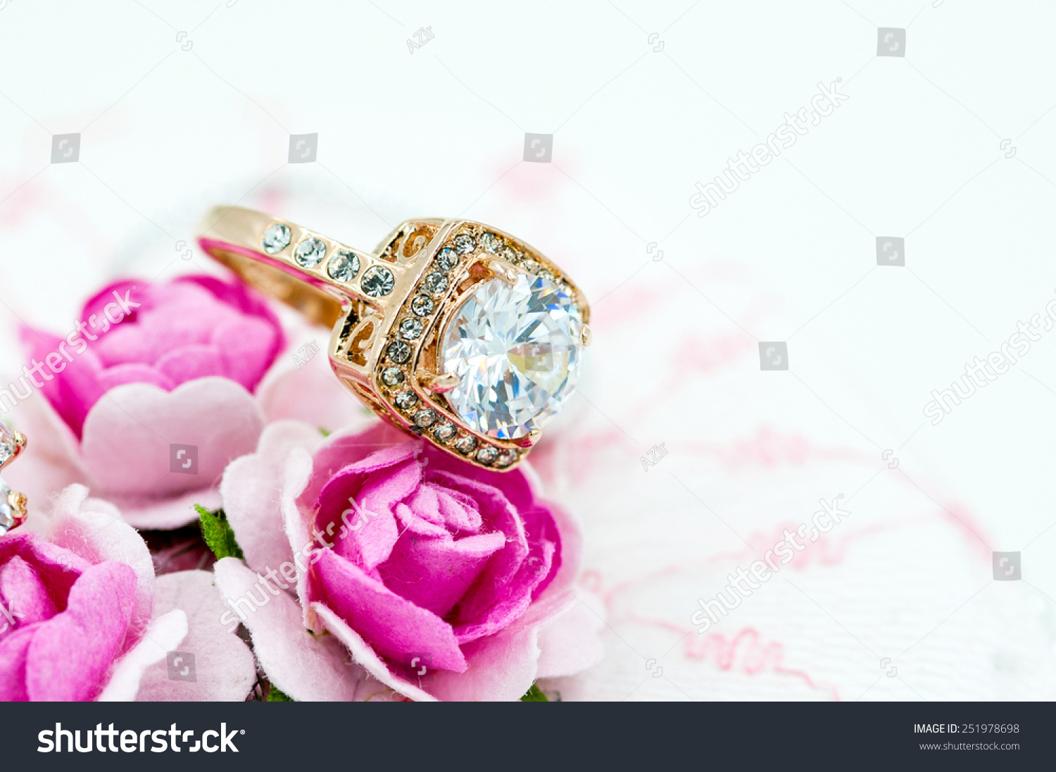 Gold Wedding Rings On Flower Background Stock Photo (Edit Now ...