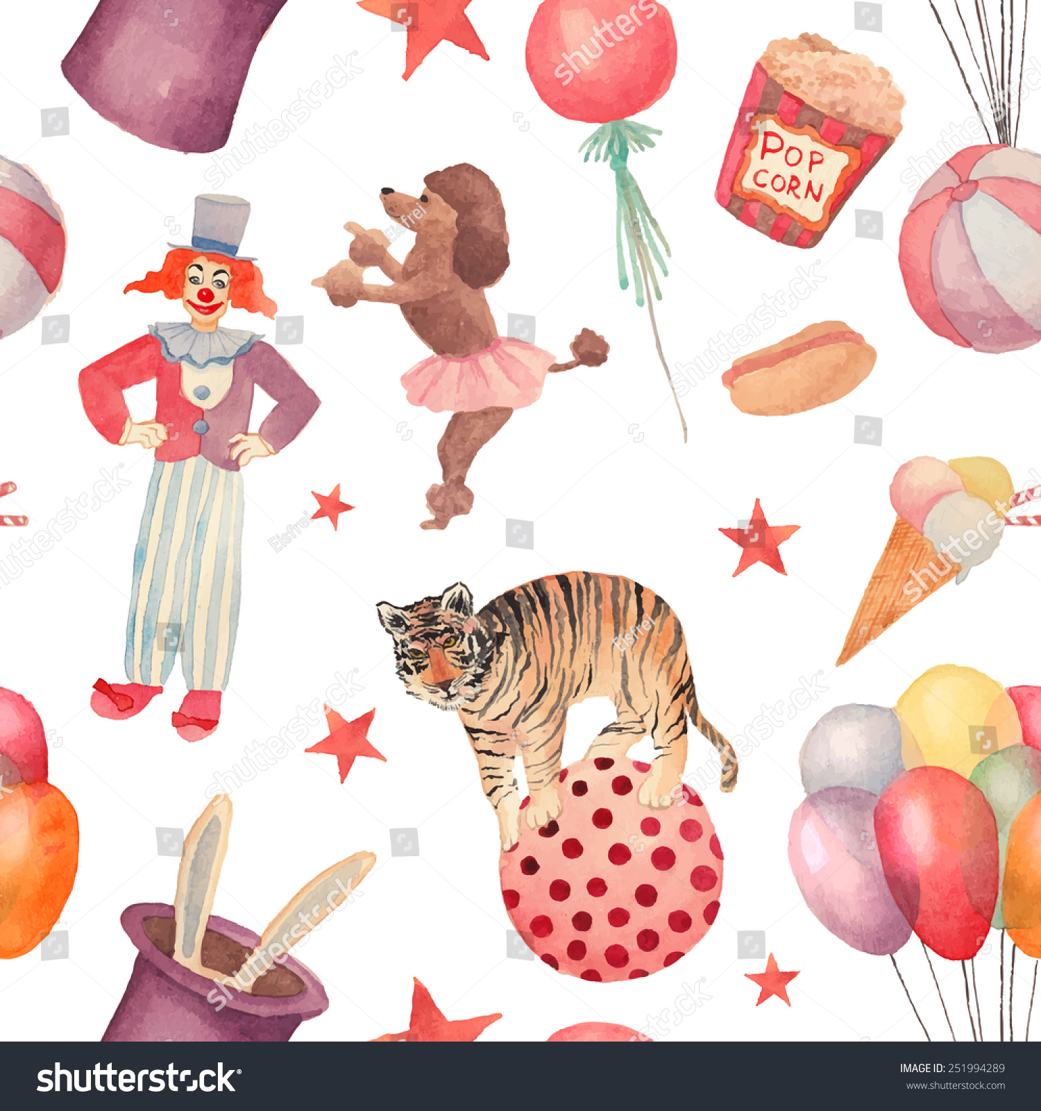 Seamless Pattern With Hand Drawn Watercolor Ice Cream: Watercolor Circus Seamless Pattern Hand Drawn Stock Vector