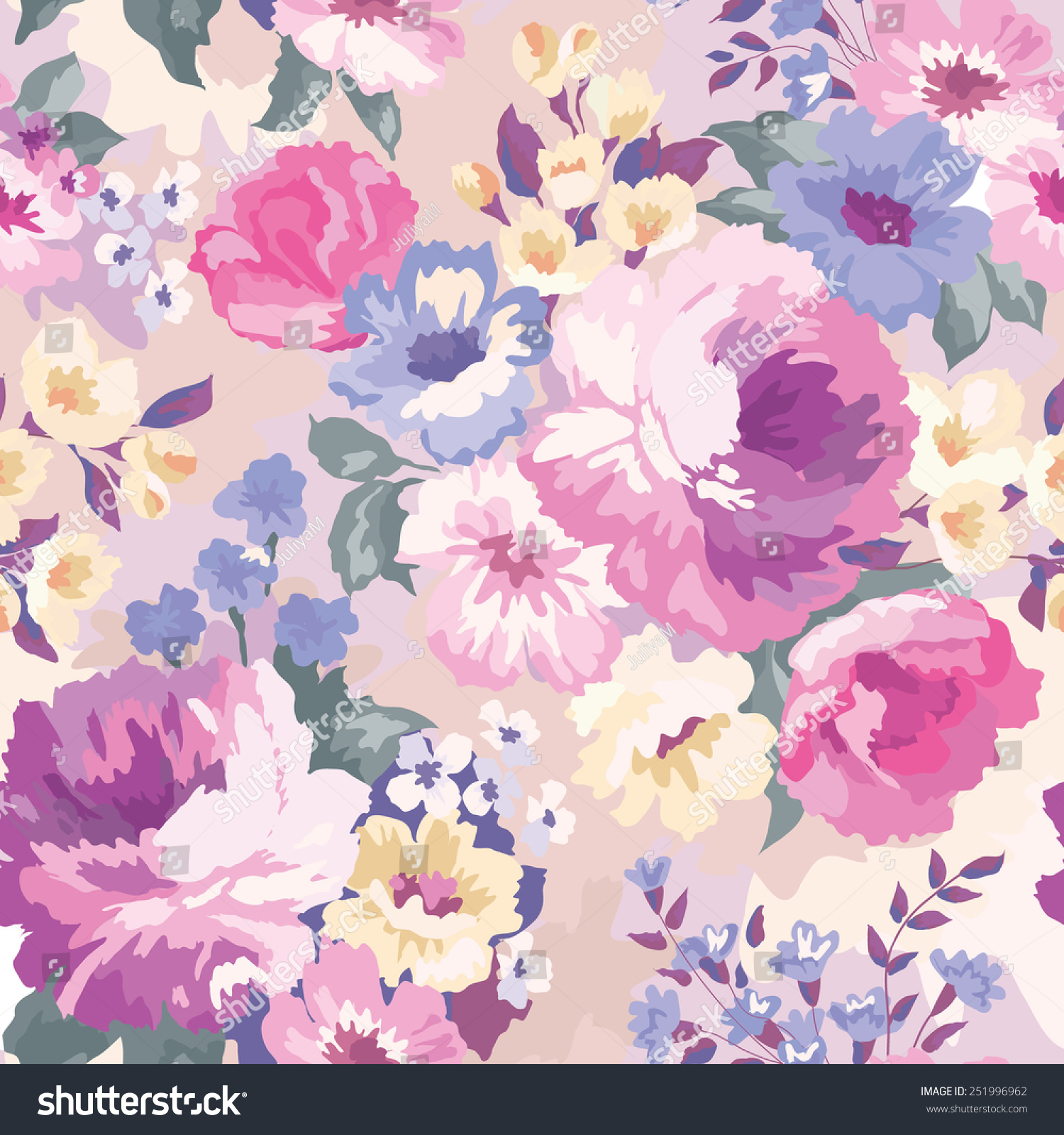 Garden floral seamless pattern on purple background watercolor vector - Beautiful Seamless Floral Pattern Watercolor Background