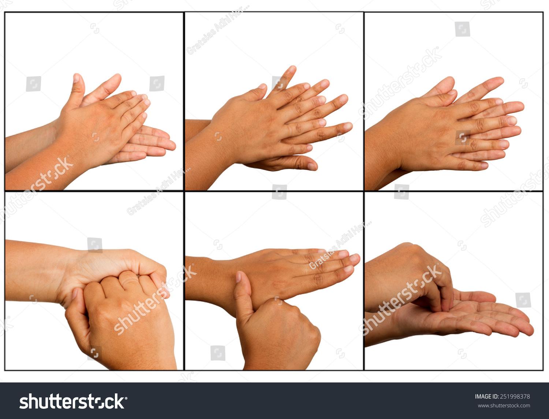 Hand Washing Procedure Real Hand Photo Stock Photo 251998378 ...