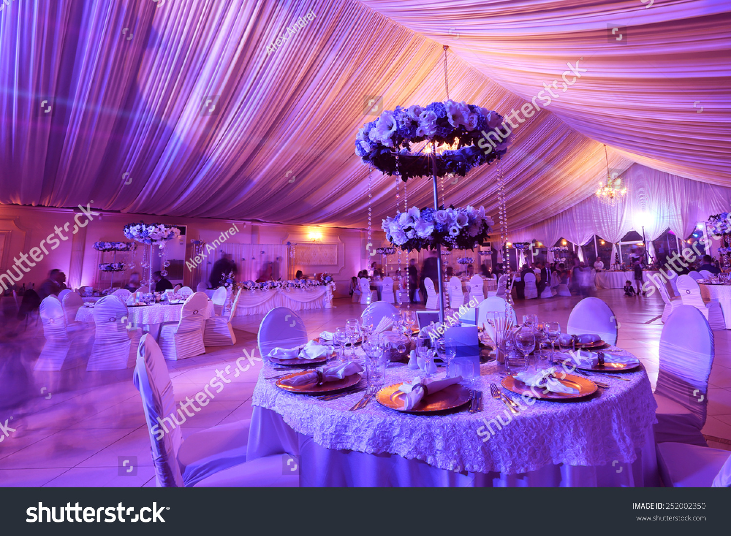 Wedding flowers decoration restaurant stock photo