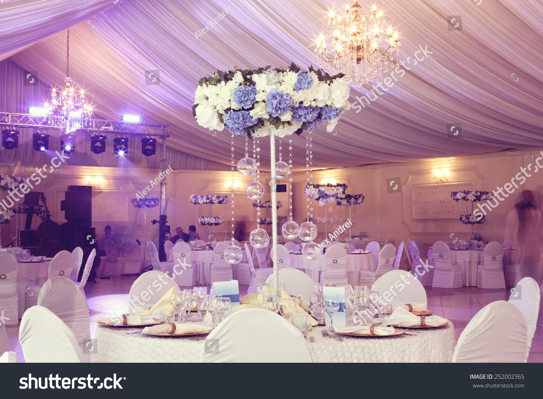 Wedding flowers decoration restaurant stock photo