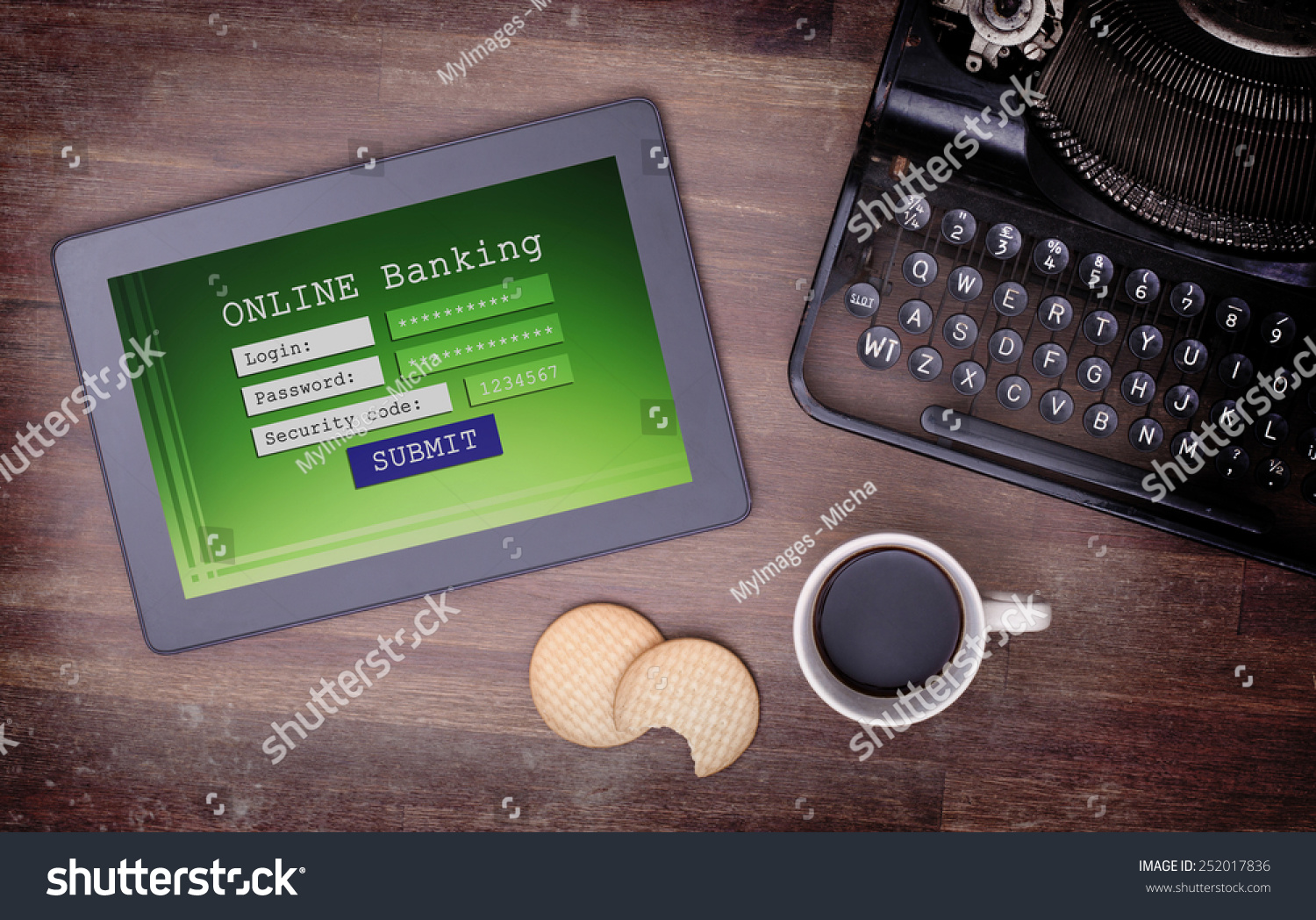 Online Banking On Tablet Login Password Stock Photo (Edit