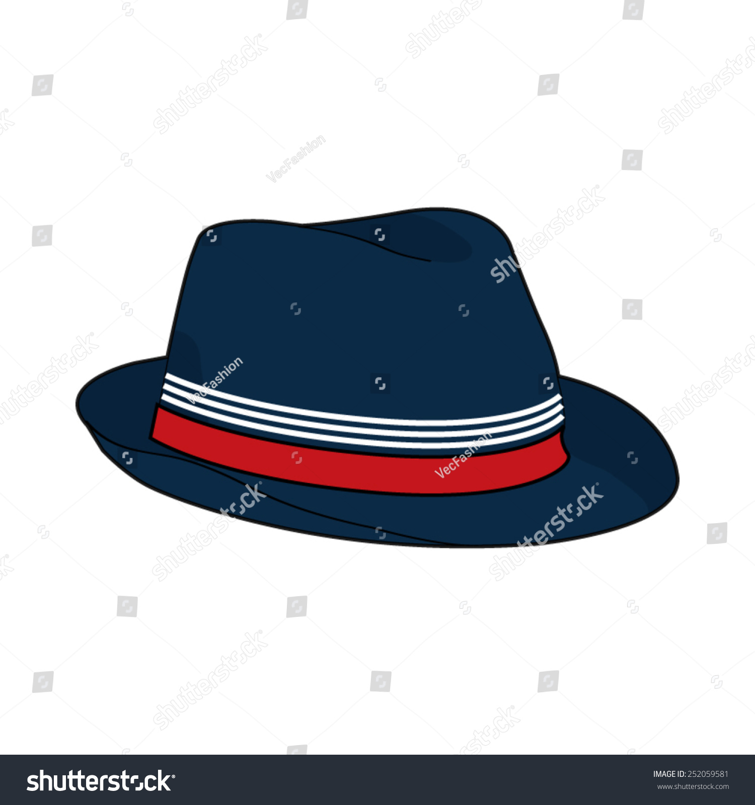 Fedora Hat Vector Template Stock Vector (Royalty Free) 252059581 ...