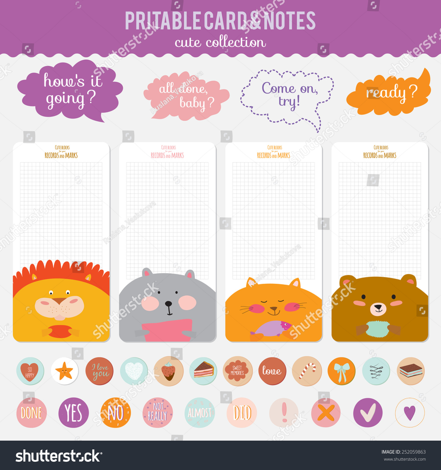 romantic love cards notes stickers labels stock vector (royalty free