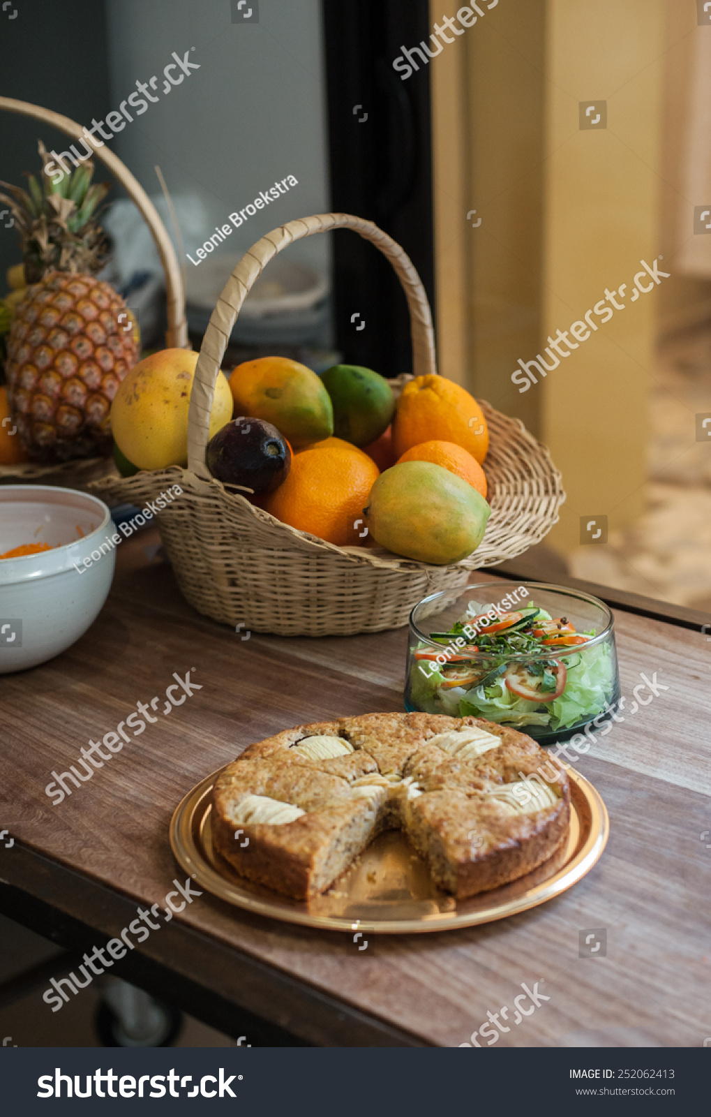 Apple pie salad and fruit in a domestic kitchen