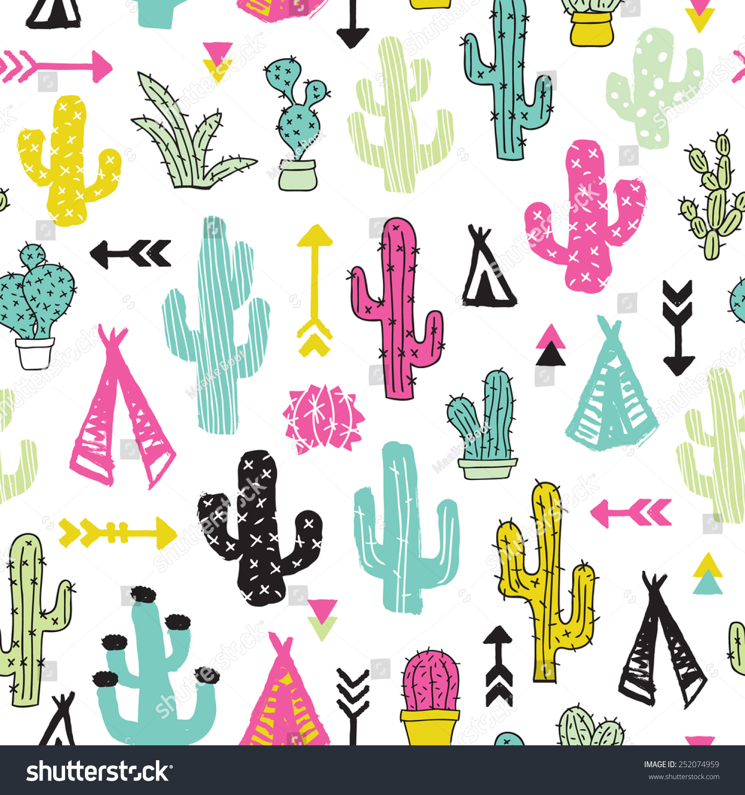 Colorful Cacti Indian Summer Teepee And Arrow Cactus