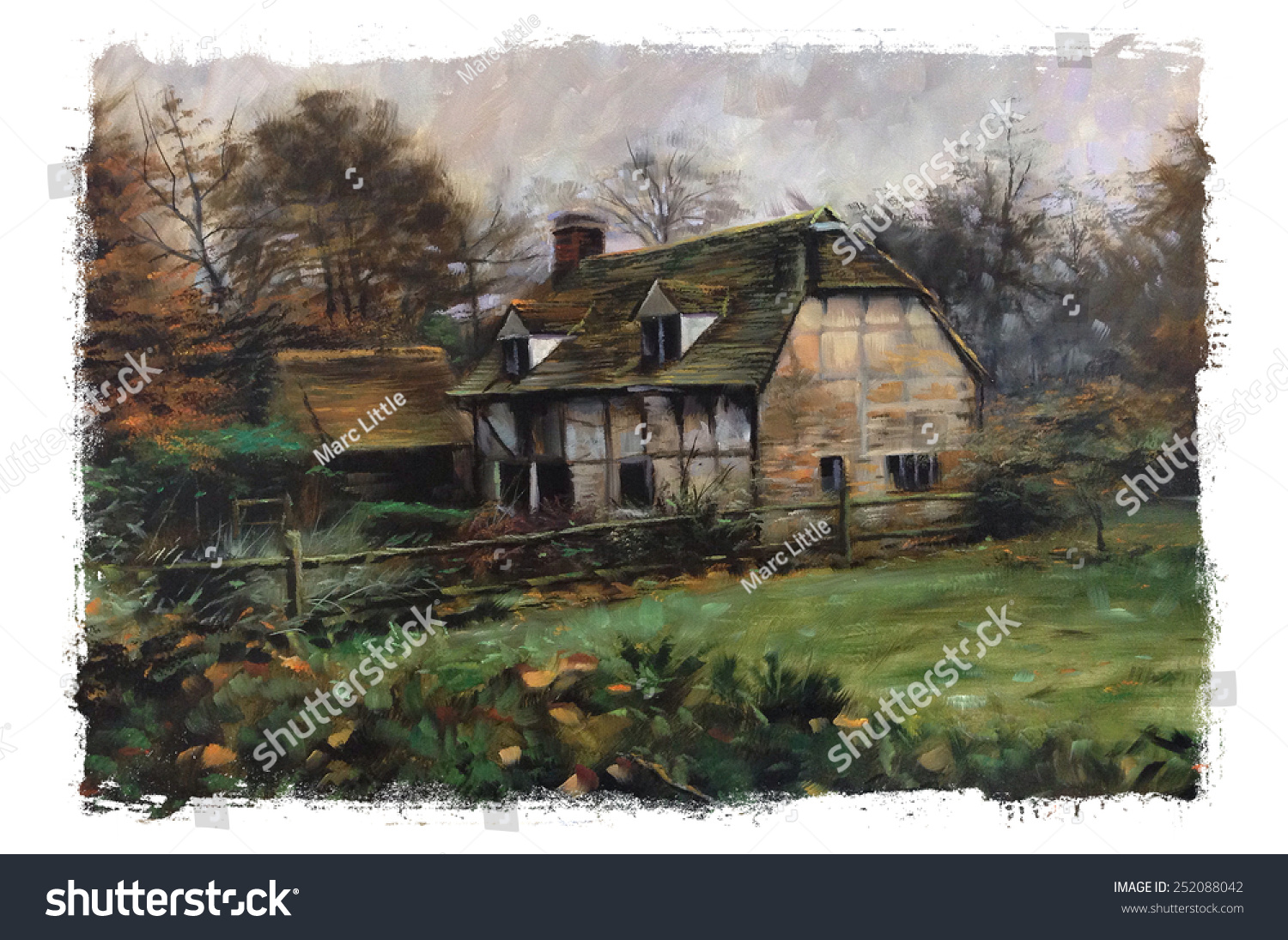 Old English Cottage Pastel Watercolor Oil Painting Art