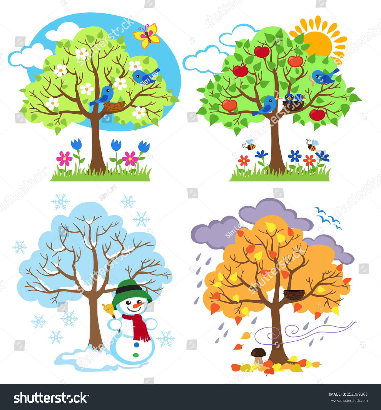 Four Seasons Trees Clipart Vector Spring Stock Vector Royalty Free