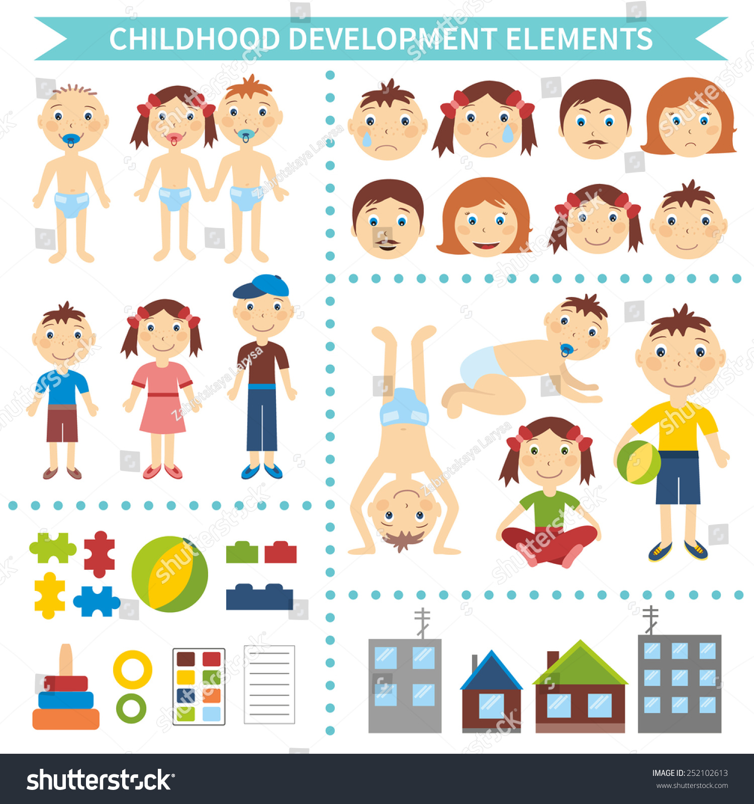 Early Childhood Development Elements Infographic Design Stock