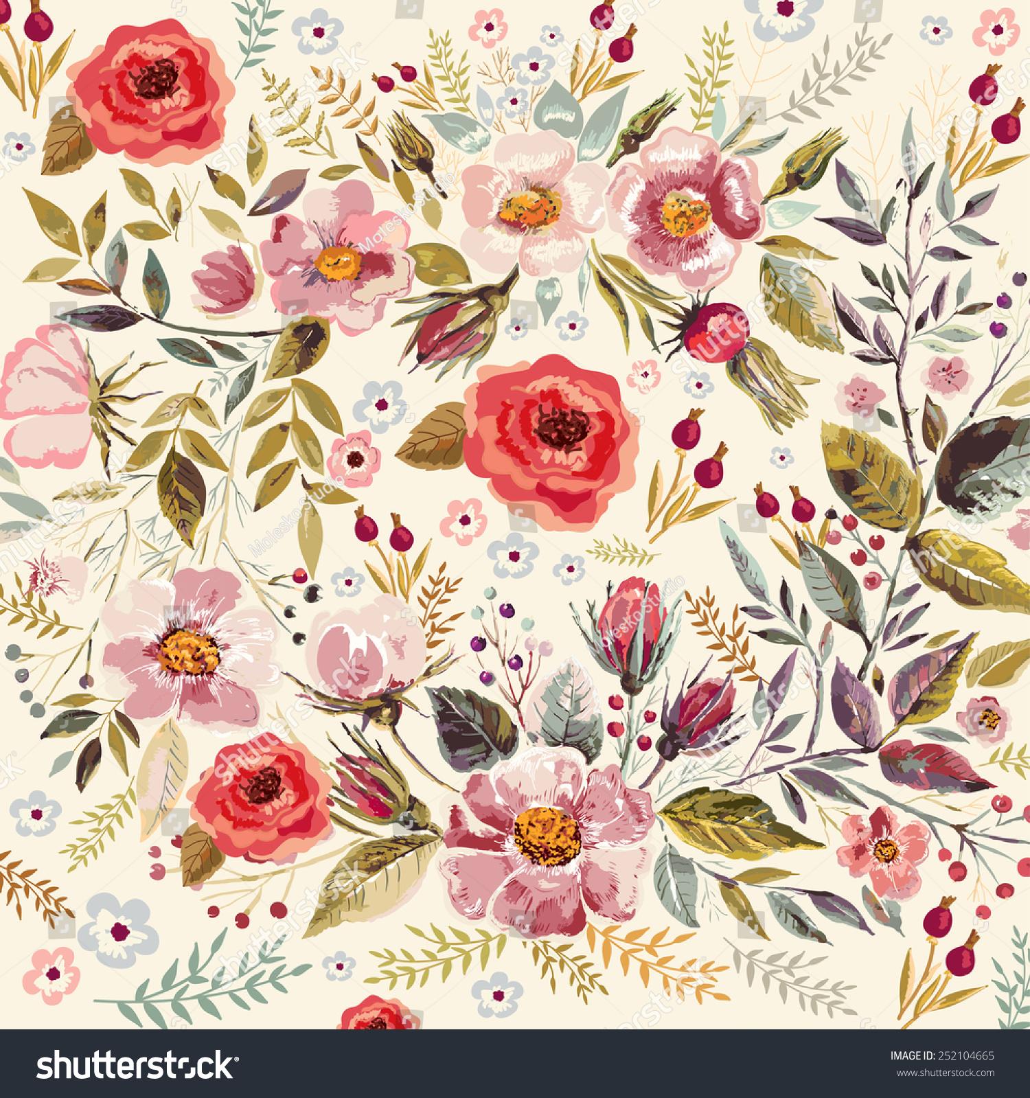 Vintage Hand Drawn Floral Background Holiday Imagem