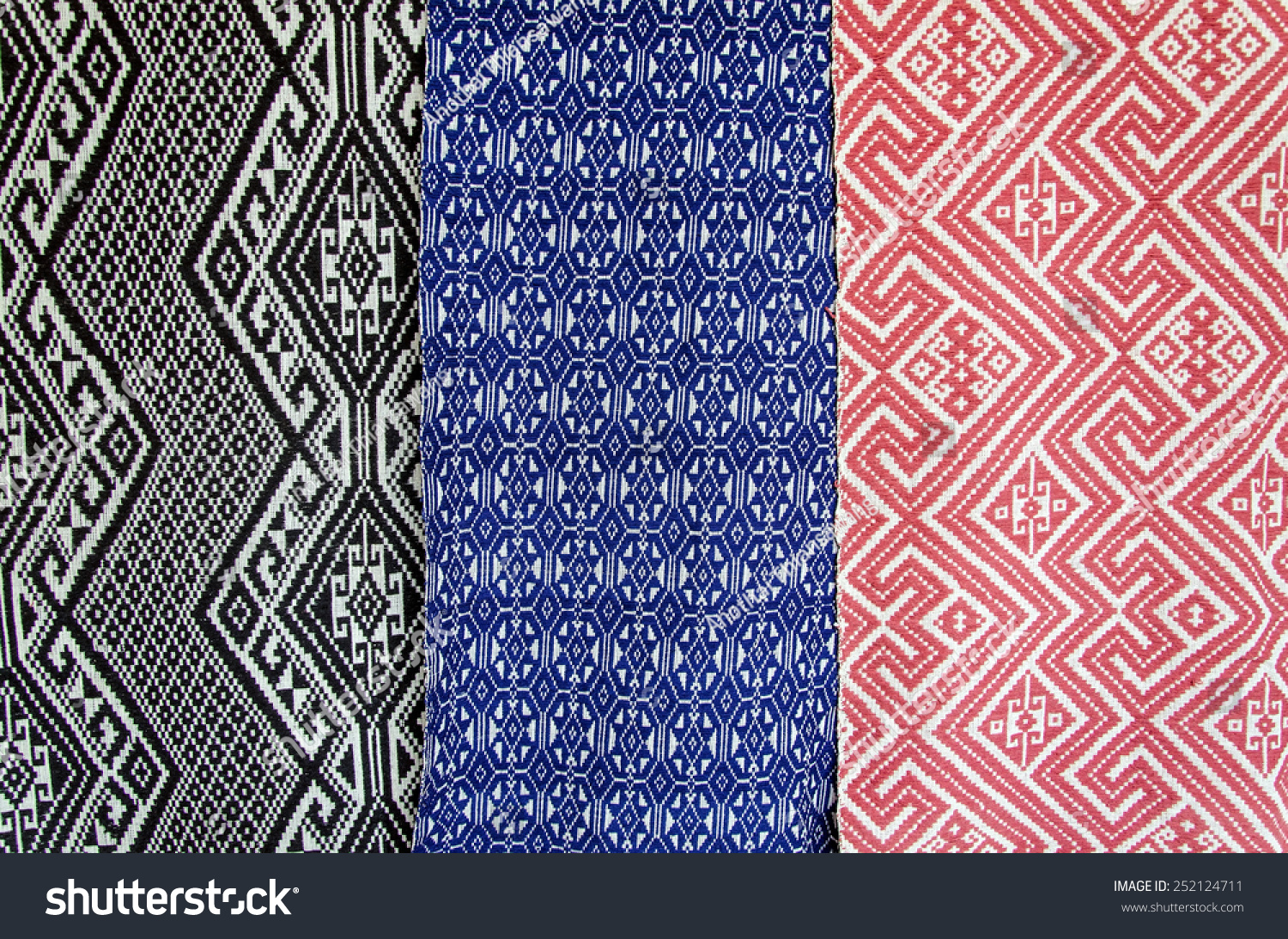Laos embroidered fabric texture background stock photo