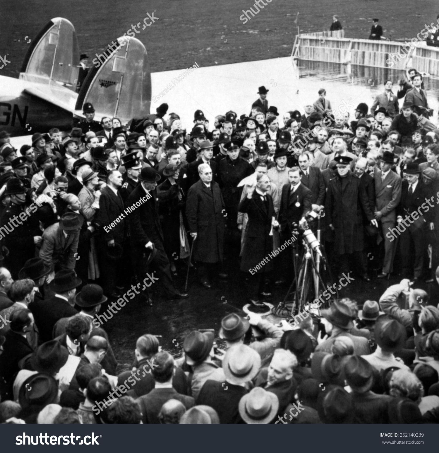 Neville Chamberlain Waving His Munich Agreement Stock Photo Edit