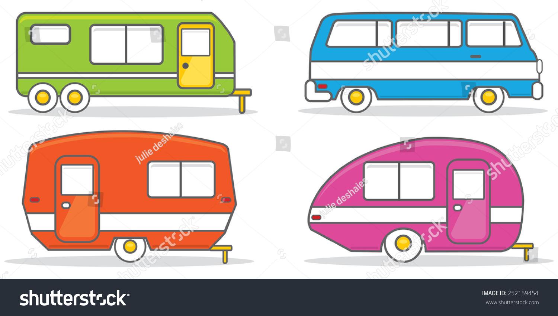 Retro Camping Caravan Mobile Home Illustration Vector Version 10