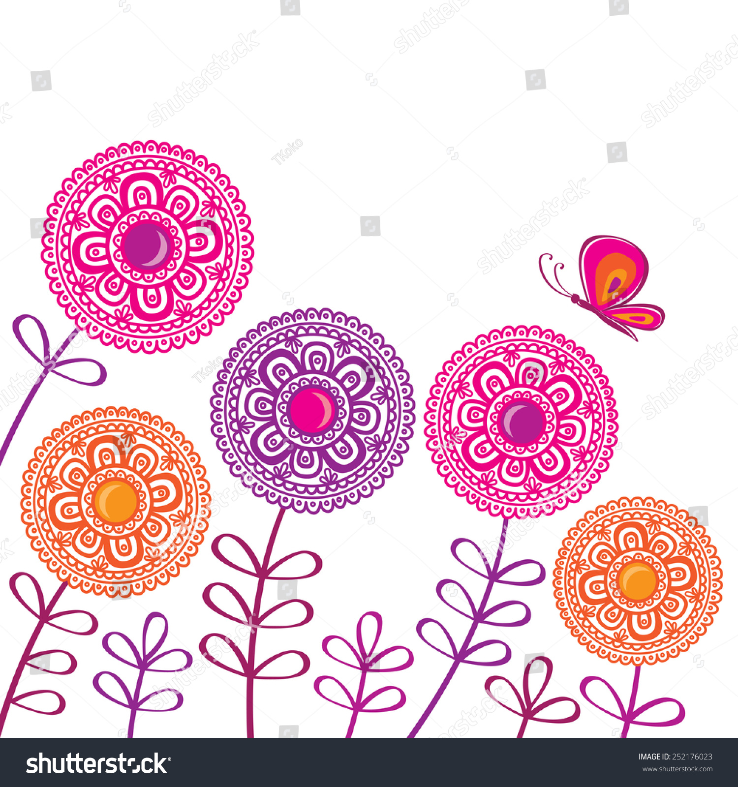 Decorative Spring Flowers Butterfly Greeting Card Stock Vector