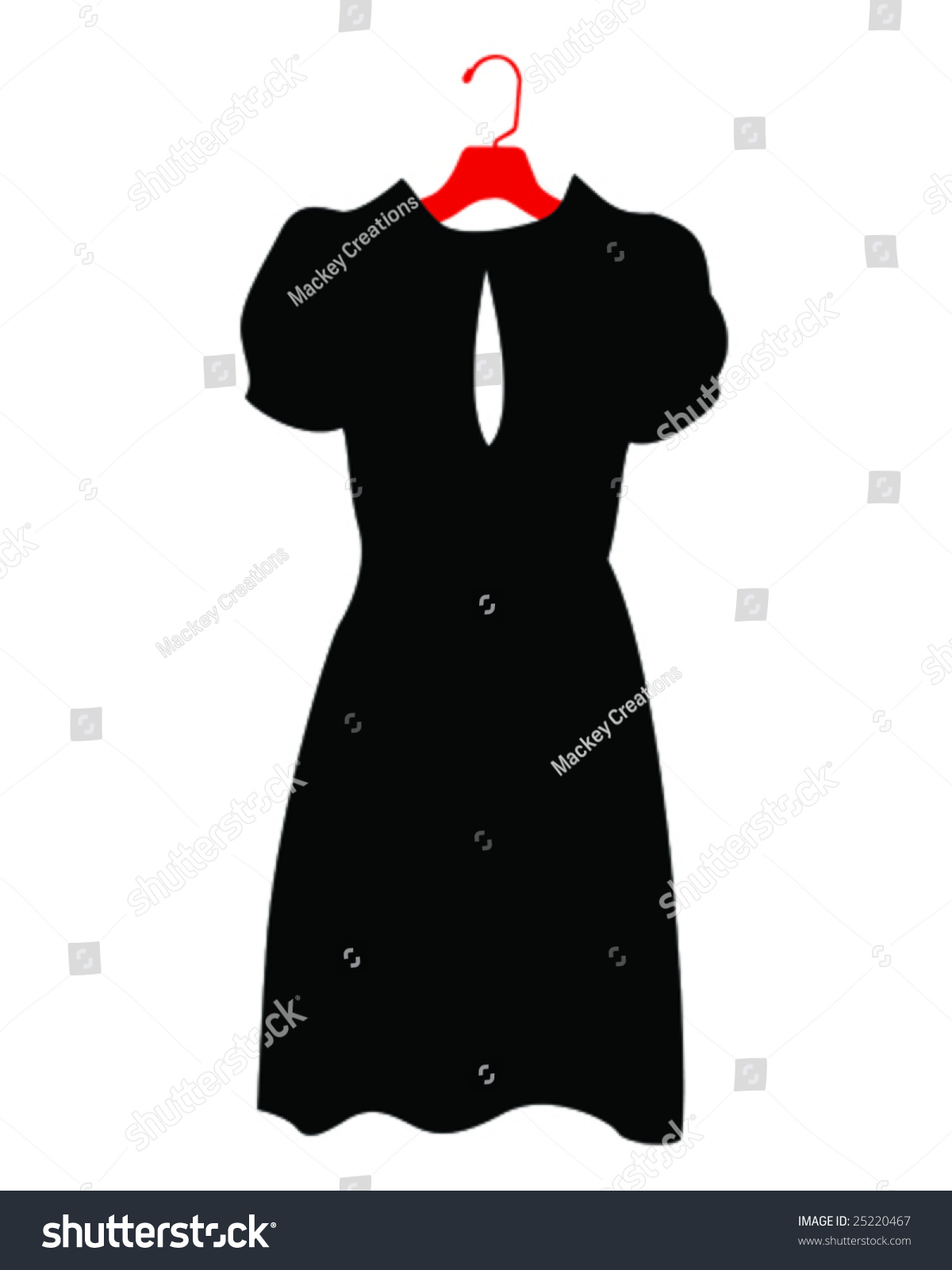 Black dress cartoon - Black Dress On Hanger