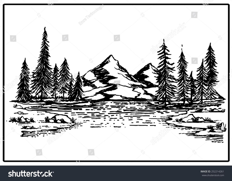 рисунки с горами и лесом и озером